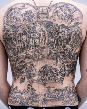 """""""The Last Judgment"""" - Michelangelo. Tattoo done by OOZY #oozy #oozytattoo #michelangelo #thelastjudgement"""