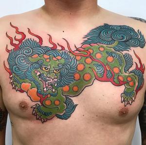 Shishi tattoo by Death Cloak #shishitattoo #karashishi #foodogtattoo #foodog #japanesetattoo #irezumi #traditionaltattoo #portcitytattoo #costamesa #orangecounty