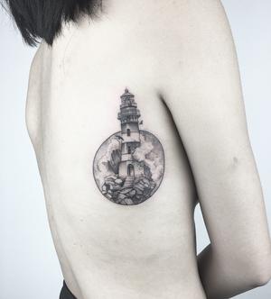 LIGHTHOUSE✖️DISTORTED CIRCLE (shoulder position) // #mrjbest #1322tattoo #londontattoo #blackwork #dotwork #finelinetattoo #fineline #lighthouse #nautical #illustration #girlswithtattoos