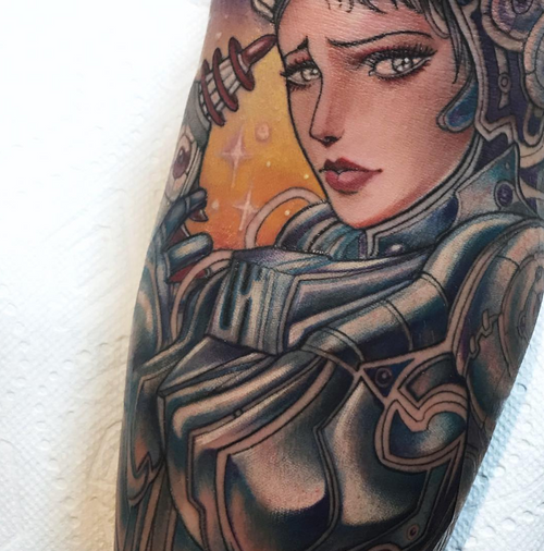 "Details ""space girl "" 🌸by Juliet  #blackclaw #blackclawneedle #tattoo #missjuliet #northpark #sandiegotattoos #sandiegotattoo #california #sanDiego"