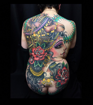 Finished Estelle backpiece by Claudia De Sabe 🙏🏽❤️🙏🏽 #claudiadesabe #blackclaw #blackclawneedle #tattoodo #londontattooer #london #backpiece #girltattoos #colortattoos