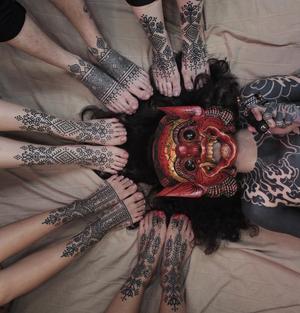 Geometric linework tattoos by James Lau #foottattoo #geometric #ornamental #linework #jameslau