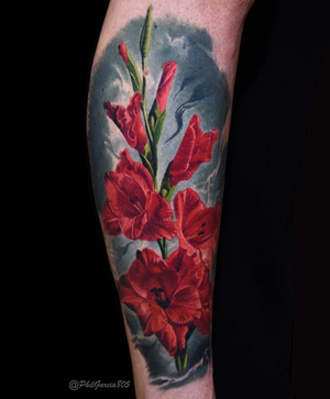 Realism flower tattoo by Phil Garcia #flower #red #floral #realism #realistic