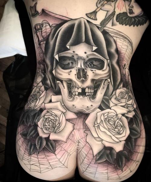 Black and grey skull tattoo by Zac Scheinbaum #zacscheinbaum #kingsavetattoo #blackclaw #skull #blackandgrey