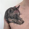 Foxylady by hannahkeuls #fox #foxtattoo #shouldertattoo  #blackandgrey #blackandgreytattoo #goodtimestattoo