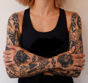 Awesome sleeves by Grace Audrey #blackwork #traditional #sleeves #graceaudrey