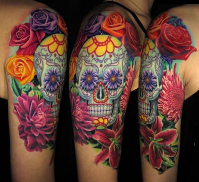 Sugar skull and roses by Jamie Schene #jamieschene #fusionink #purpleglide #colortattoo #colorrealism #sugarskull