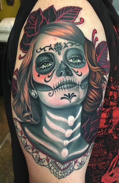 In honor of 🌹Dia De Los Muertos 🌹(part healed, part fresh) #diadelosmuertos #dayofthedead #dayofthedeadtattoo