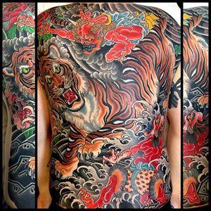 Tiger, Oni, & Peony Backpiece made at Kings Avenue Tattoo #tiger #oni #peony #backpiece #mikerubendall #kingsavenue #kingsave