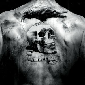 #skulltattoo #raventattoo #banner #lettering