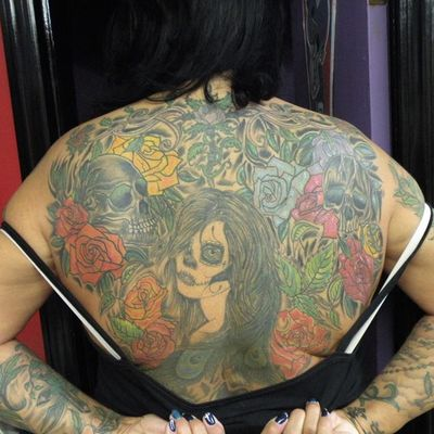 Amazing back piece in progress #back #backpiece #yourchoicetattooinc #skull #roses #diadelosmuertos