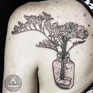 By Ian Reynold #flower #floral #botanical #sanfrancisco #sanfranciscotattoo #blackwork #blackandbluetattoo #blackandblue #jar #masonjar #glass #vase