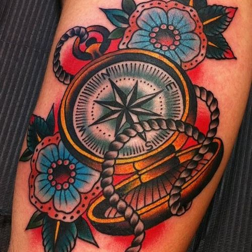 #compass #traditional #bold #flowers