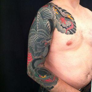 #sleeve #snaketattoo #raventattoo #sleevetattoo #rg #invisiblenyc