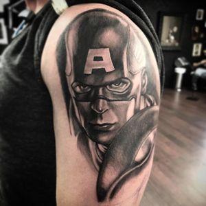 Started this captain America today #Atx #Austin #texas #blackandgrey #captainamerica
