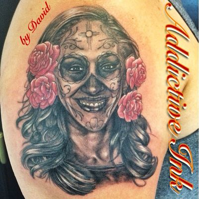 Thank you Daniel for giving me the honor of doing this special tattoo for you! By David. #albuquerque #albuquerquenm #addictiveinktattooshop #dayofthedead #diadelosmuertos #sugarskull
