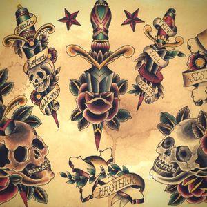 #Flash sheet by #ClaudiadeSabe #dagger #rose #skull #cross #traditional