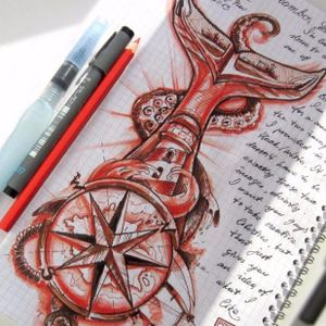 #Custom #Whale #compass #lighthouse #design #drawing #octopus #tentacle