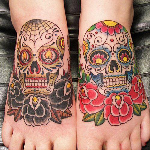 Beautiful #Sugarskull tattoos on the #feet.