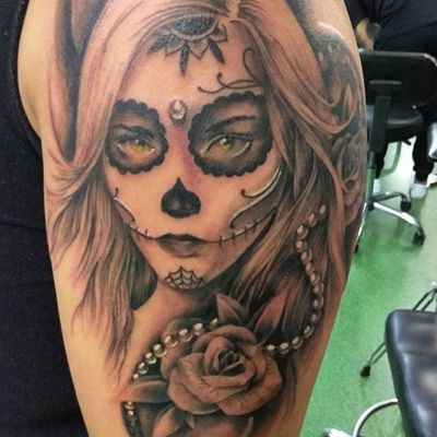 Day of the dead girl done by Edric at Double Cross Tattoo (Fort Lauderdale & Downtown Miami) #miami #dayofthedead #dayofthedeadtattoo