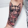 This piece was done by Steven Compton #texastattoos #houston #dog #frenchbulldog