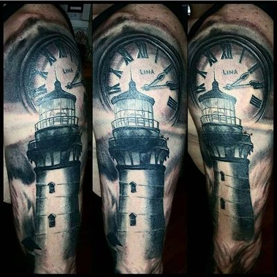 Tattoo by Niko #realistic #realistictattoo #realisticportrait #portrait #realisticartist #kustomtattoo #blackandgreytattoos #blackandgrey #lighthouse