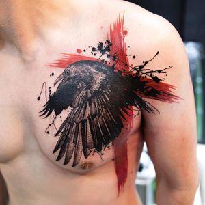 Trashpolka raven from Mikhail Andersson (mikhailandersson on IG) / FirstClassTattoo #raven #trashpolka #cross #MikhailAndersson #firstclasstattoo