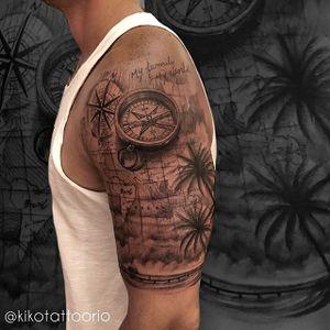 Tattoo feita pelo tatuador Igor Ten da Equipe Kiko Tattoo. #kikotattoorio #braziliantattooartist #blackandgrey #compass #halfsleeve