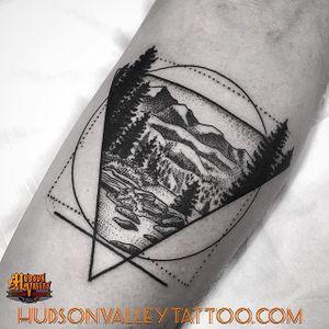 Done by Carpino (jcarpino on IG) / Hudson Valley Tattoo Company  #hvtc #hudsonvalleytattoo #hudsonvalley #landscape #mountain #geometry #blackwork #blckwrk