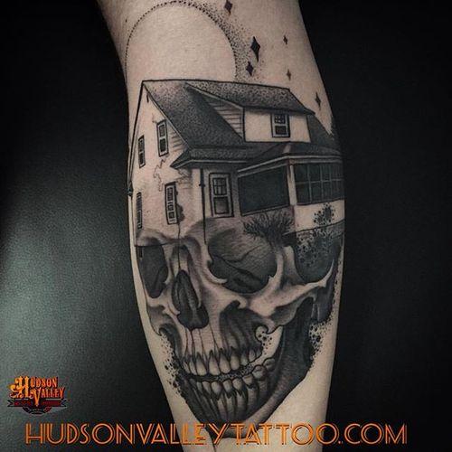 By Tyler (IG: tylerallenkolvenbach) /  Hudson Valley Tattoo Company  #hvtc #hudsonvalleytattoo #skull #house #blackwork #blckwrk #dotwork #dotshade