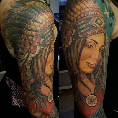 Getting there #colortattoo #feather #headdress #portraitpainting #native #american #wisdom #spiritual #lady #sleeve #in #progress