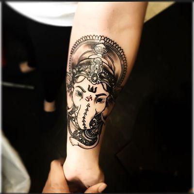 By Dashaon Williams (IG: tattz_by_dae) #GaneshaTattoo #Ganesha #shaolin #statenislandtattoos #NewYork #NYC #BlackNGrey