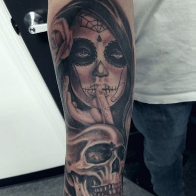 Day of the dead tattoo by Stevink Petrone #stevink #inklifeindustries #dayofthedead #blackandgrey #yonkerstattoo #diadelosmuertos
