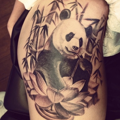 Tattoo by June Jung #nyckulture #panda #arm #art #color #animal #beauty