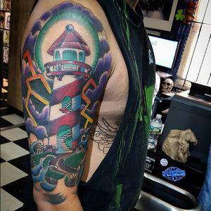 Lighthouse tattoo. Done at Kundalin Ink #lighthouse #maritime #kundalinink