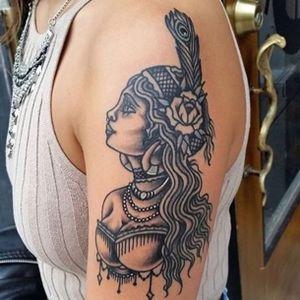 Gypsy Lady by Douglas Grady #gypsytattoo #tattoo #tattoos #traditional #traditionaltattoo #magiccobratattoo #nyctattoo #williamsburg #brooklyn #brooklyntattoo