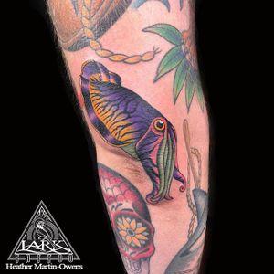 Tattoo by larktattoo artist Heather Martin-Owens #color #colorful #fish #cuddlefish