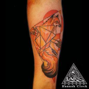Tattoo by larktattoo artist Hannah Clock #watercolortattoos #watercolortattoo #watercolor #geometricwatercolor #fox