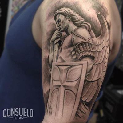 St. Michael by Consuelo (IG: consuelo_art) #stmichael #religious #shield #saint #consueloart #masterpiecetattoo #ny #nyc