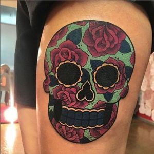 🌹Beautiful Sugar Skull🌹 made by Megan Massacre here at Grit N Glory! To book an appointment with Megan email tattoo@meganmassacre.com 🗡🗡🗡