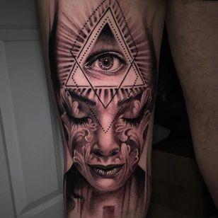 Third eye by Matt Jordan (IG- mattjordantattoo) #mattjordan #blackandgrey #top10 #realism