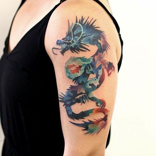 Dragon Tattoo by Martynas Šnioka #dragon #dragontattoo #watercolor #watercolortattoo #abstract #abstracttattoo #graphic #graphictattoo #lithuanian #MartynasSnioka