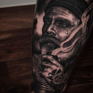 Tattooed sailor by Ben Thomas. #realism #blackandgrey #blackandgreyrealism #portrait #BenThomas #sailor