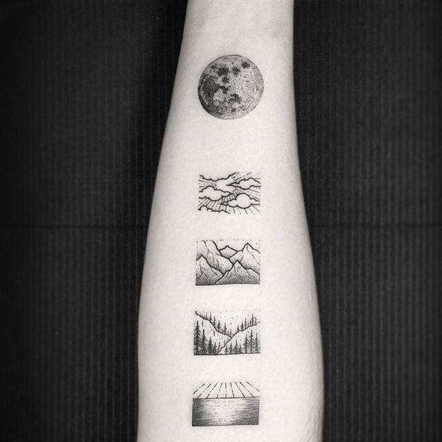 A series of simple, tiny landscapes, by Thomas Eckeard. (via IG—thomasetattoos) #TattooRoundUp #Tiny #Landscapes