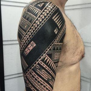 Stunning Tribal Tattoo by Daniel Frye #tribal #tribaltattoo #tribaltattoos #tribalart #traditionaltribal #polynesian #polynesiantattoo #patternwork #patternworktattoo #DanielFrye