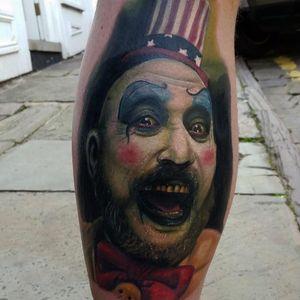 Captain Spaulding tattoo by Alex Wright #robzombie #AlexWright #metal #musician #horrormovies #realistic #portrait #clown #CaptainSpaulding