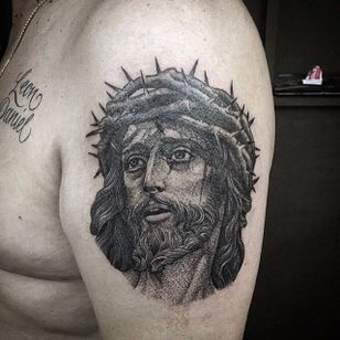 Black and Grey Jesus Tattoo by @anspham #blackandgrey #Jesus #BlackandGreyJesus #Religious #Christ #anspham
