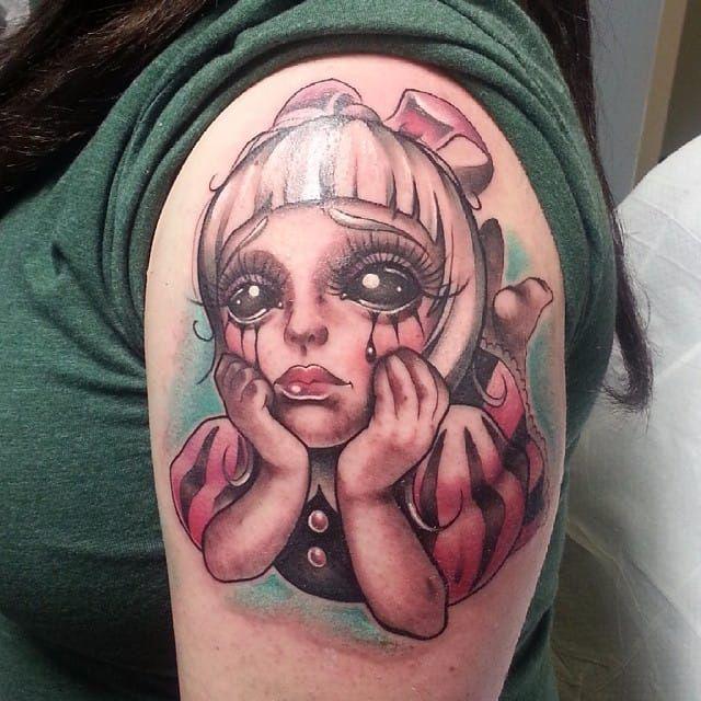 Girl tattoo by Mitchel Von Trapp @Mitchelmonster #Mitchelvontrapp #Newschool #Fantasy #AtomicZombietattoo #Girl