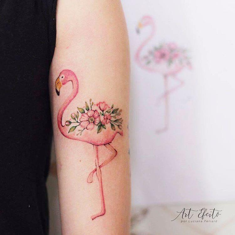 Feita pro Luciana Periard #LucianaPeriard #flamingo #flamingotattoo #ave #passaro #bird #flor #flower #folha #leaf #TatuadorasDoBrasil #brazilianartist