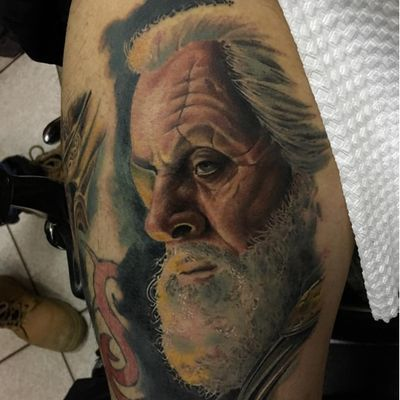 A portrait of Anthony Hopkins as Odin by Wilmer Fuentes Rivera (IG—wilmer_tattoo). #AmericanGods #AnthonyHopkins #Odin #portraiture #WilmerFuentesRivera